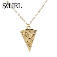 Brass Long Chain Pizza Statet Necklace for  Cute Personalized Food Pendant Necklaces Wedding Party Gifts N190