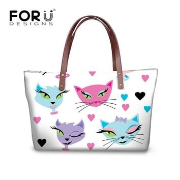 FORUDESIGNS Fashion Girls Stylish Handbags Cross Body Bags Kawaii 3D Kitty Cat Silhouette Pattern Women Large Tote Bags Mujer