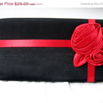 ON SALE Vintage Purse Evening Bag Big Red Rose Liz Claiborne
