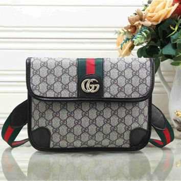 DCCKJ1A GUCCI Stylish Ladies Shopping Bag Metal GG Stripe Leather Satchel Crossbody Shoulder Bag Black I