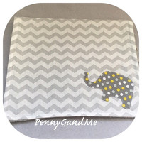 Elephant Burp Cloths, Yellow and Grey Elephant, Elephant Baby Shower Gift, Gender Neutral Elephant Burp Cloths,