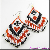 Handmade Earrings Seed Beaded Beadwork Alice in Wonderland Cards
