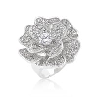 Large Flower Cubic Zirconia Cocktail Ring, size : 07