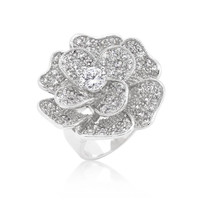 Large Flower Cubic Zirconia Cocktail Ring, size : 06