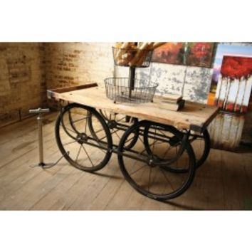 RECYCLED WOOD AND IRON ROLLING VENDOR CART WITH BICYCLE TIRE PUMP - NKC7800A