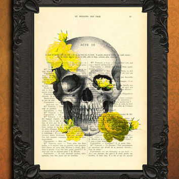 anatomy print, anatomical poster, illustration dictionary page, book print, yellow roses decor, retro skull art, cranium decoration, digital