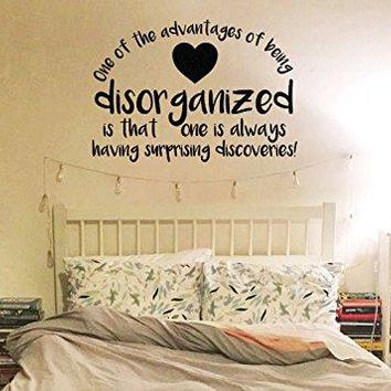 "Lucky Girl Decals Inspired by Winnie The Pooh One Of The Advantages Of Being Disorganized Is That One Is Always Having Surprising Discoveries A.A. Milne Vinyl Wall Decal Sticker 17.2"" w x 12"" h"