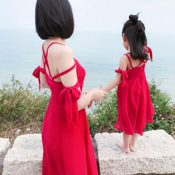 Mother daughter dresses Solid Family matching outfits Nmd Baby girl clothes Chiffon Family look mama mom mum and me Fashion 2-7T