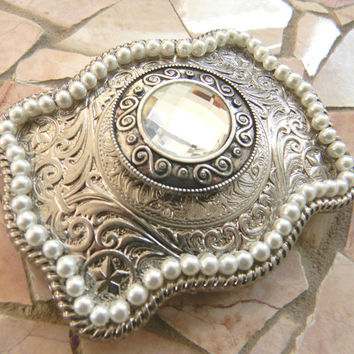 Silver Concho Belt Buckle,  Western Womens Engraved Pearl Buckle, Silver Concho Western Custom Belt Buckle, Cowgirl Country Girl Concho Belt