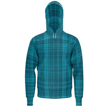 Blue Plaid Men's Hoodie
