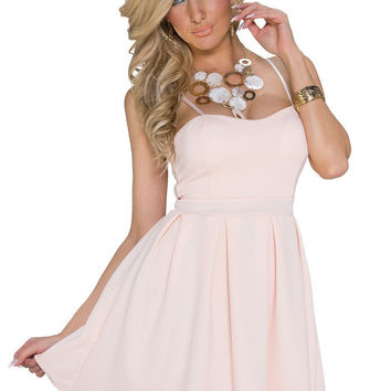 Apricot Spaghetti Strap A-line Mini Skater Dress