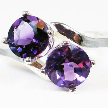 Large Amethyst Two Stone Ring, 925 Sterling Silver, February Birthstone Ring, Amethyst Two Stone Ring, 6mm Round Amethyst Gemstones