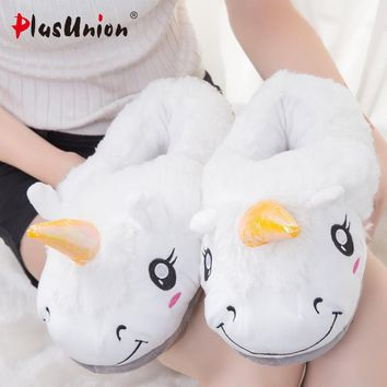 flat with indoor cotton solid unicorn slippers furry fluffy house mules fur platform flip flops plush women shoes s105