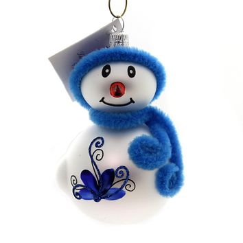 Golden Bell Collection Snowman With Blue Hat Glass Ornament