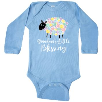 Grandma's little blessing Long Sleeve Creeper with pastel lamb grandchild gift. $21.99 www.personalizedfamilytshirts.com
