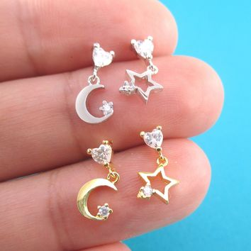 Tiny Crescent Moon and Stars Shaped Dangle Stud Earrings in Gold or Silver
