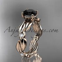 14kt rose gold diamond leaf and vine wedding ring, engagement ring with Black Diamond center stone ADLR58