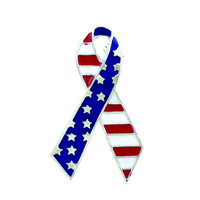 American Flag Breast Cancer Awareness Pin