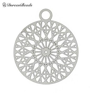 MDIGHY9 Filigree Stainless Steel Charm Pendants Round Silver Tone Flower Hollow Carved 22mm( 7/8') x 18mm( 6/8'),2 PCs 2016 new