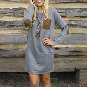 Gray Elbow Patched  Long Sleeve Knitted Shift  Dress