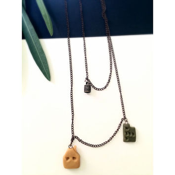 Handmade House Shaped Polymer Clay Necklace