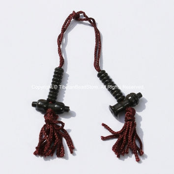 Tibetan Mala Counter Carved Black Bone Bell & Vajra Set - Prayer Bead Mala Making Supplies - T50B