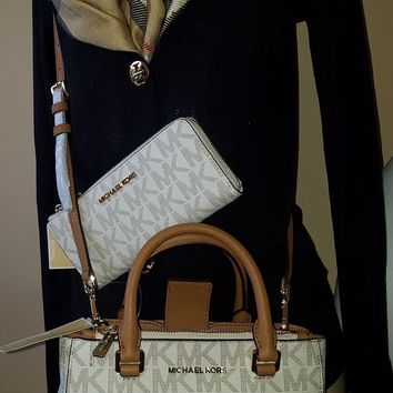 NWT Michael Kors Mk Set Wallet+Handbag Kellen Vanilla MK Signature Crossbody Bag