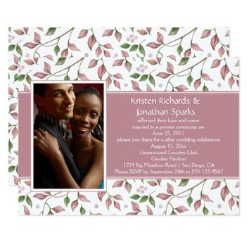 Pink Green Leaves Photo Garden Reception Wedding | Card