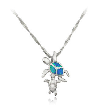 Free Chains Cute Blue Pink White Brown Green Fire Opal Turtle Pendant  Turtle Opal Necklace 1 1/8'' OP5 Free Gift Box