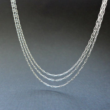 Triple strand sterling silver necklace, Delicate three strand silver necklace, Brdiesmaid necklace, Simple everyday jewelry