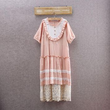 Summer Pink Vintage Women Dress Sweet Retro Lace Embroidery Short Sleeve Dress Japanese Mori Girl Style Casual Dresses 16952