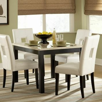 Home Elegance 3270-48-S1W 5 pc archstone collection black finish wood and faux marble top square dining table set with white upholstered seats