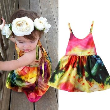US Seller Toddler Infant Girl Backless Strappy Party Dress Pretty Dresses Summer