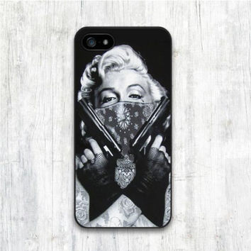 Marilyn Monroe Double Guns for iphone 4 4s 5 5s 5C 6 6s 6plus 6s plus Hard Cover CASE Celebs