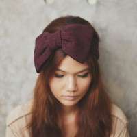 BIG BOW headband - Dark Plum