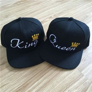 KING QUEEN Embroidery Snapback Hat Acrylic Men Women Couple Baseball Cap Gifts Fashion Hip-hop Sport Caps 2016 Hot Sale
