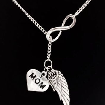Infinity Guardian Angel Mom Angel Wing In Memory Heaven Y Lariat Necklace