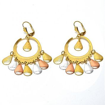 Gold Layered 081.004 Chandelier Earring, Teardrop Design, Diamond Cutting Finish, Tri Tone