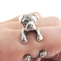 3D Pug Puppy Dog Shaped Animal Wrap Ring in 925 Sterling Silver | Sizes 4 to 8.5