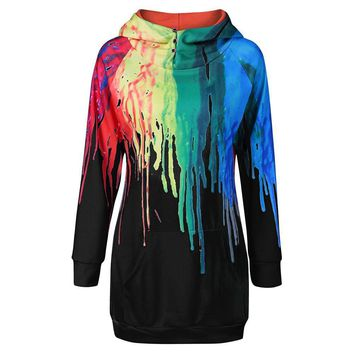 Oil Painting 3D PRINT HOODIE Punk Women Sweatshirts Hoodies Casual Kangaroo Pocket Raglan Sleeve Coats Long Sweatshirts