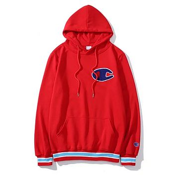 Champion Fashion New Bust Embroidery Logo High Quality Women Men Hooded Long Sleeve Sweater Red
