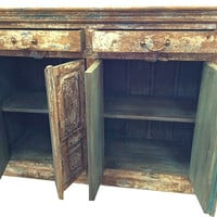 Antique Vintage dresser Sideboard Rustic carved blue patina Buffets dresser Chest indian furniture