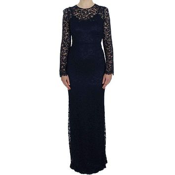 Dolce & Gabbana Blue Floral Lace Long Sleeve Sheath Dress