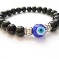 Evil eye Mala bracelet Strength&Protection Bracelet Good luck Jewelry Onyx elastic beaded braclet Yoga jewelry Unique gift Spiritual jewelry