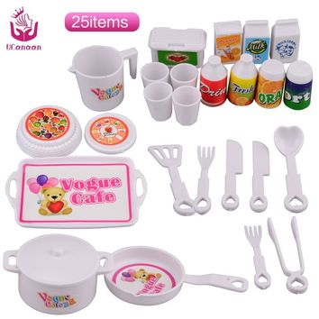 UCanaan 25 pcs Plastic Dinner Set for Barbie Doll Educational Classic Toy DIY Children Kids Baby Pretend Play Kitchen Food Toy