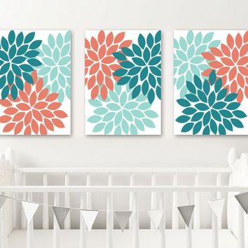 Flower Wall Art, Turquoise Teal Coral Bedroom Wall Decor, Nursery CANVAS or Prints, Floral Bathroom Decor, Flower Burst Artwork, Set of 3