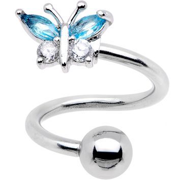 Clear Blue CZ Gem Butterfly Spiral Twister Top Mount Belly Ring
