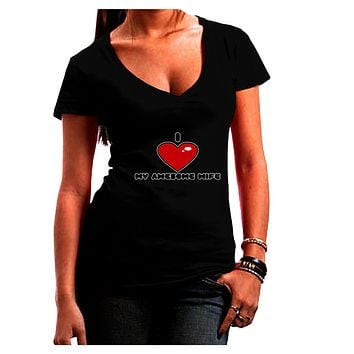 I Heart My Awesome Wife Juniors Petite V-Neck Dark T-Shirt by TooLoud