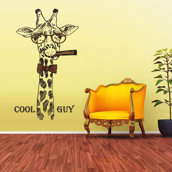 Full Color Wall Decal Mural Sticker Art Fashion Fashionable Animal Giraffe Cigar Glasses Retro Glasses Hipster Modern Fun (col173)