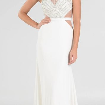 Halter Sheer Cut-Out Embellished Bodice Long Prom Dress Off White
